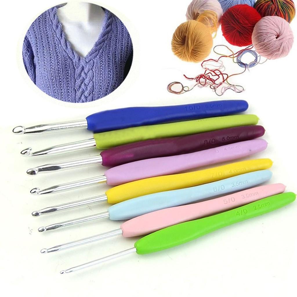 8 Size Multicolor Soft Plastic Handle Aluminum Crochet Hook Knitting Needle