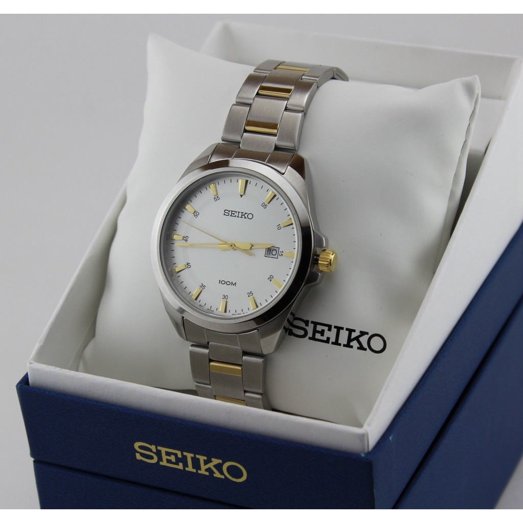Seiko Silver Dial Brown Leather Mens Watch Sgeg97 Shopee Malaysia Two Tone Analog Original Brand New