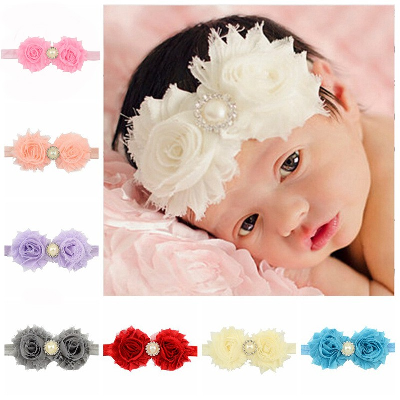 New NWT Soft  Infant Baby Girl/'s Headbands Chiffon Hair w//Pearls Ivory Yellow