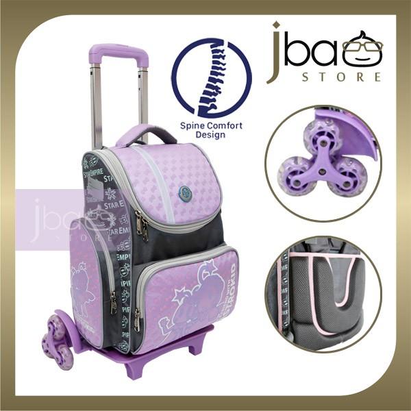 2020 Astrokid 6 Wheels Kid Trolley School Bag Astrokids 3D Foam Cushion Backpack Spine Comfort design R-801976-PL Purple