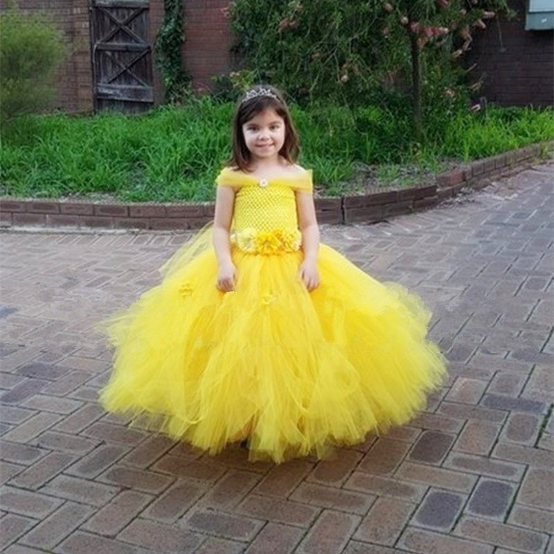 Girl Belle Princess Dress up kids Beauty and the beast cosplay Xmas Party Dress