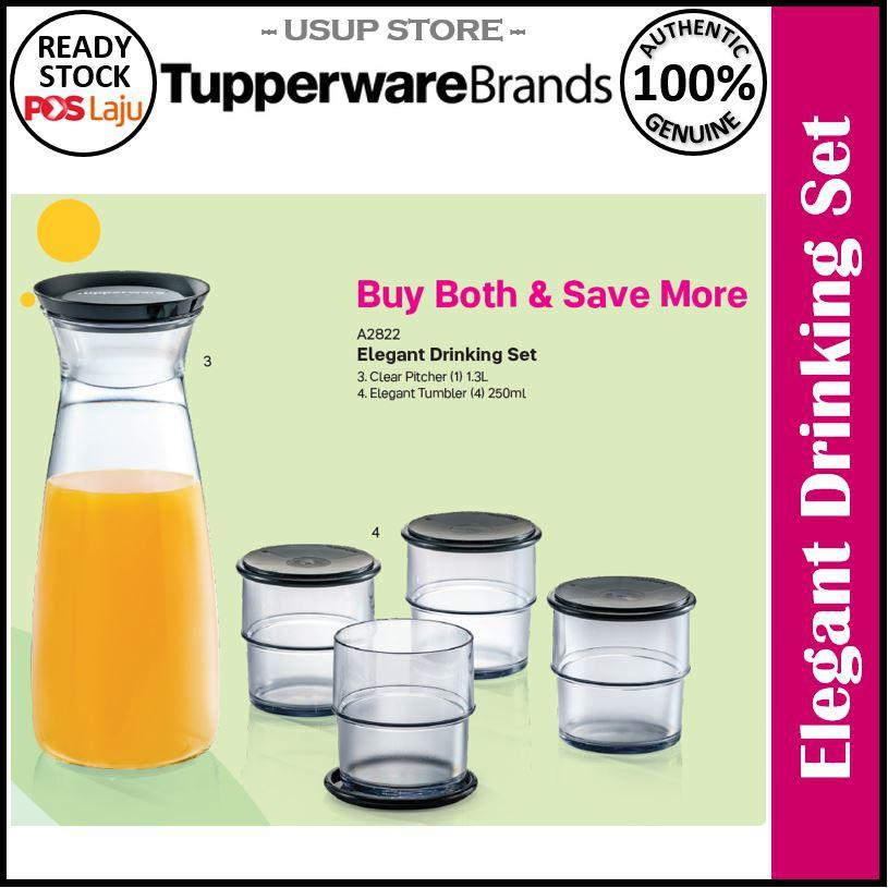 Tupperware Elegant Drinking Set / Clear Pitcher / Elegant Tumbler / Cold Brew Coffee Carafe / Elegant Glass with Coaster