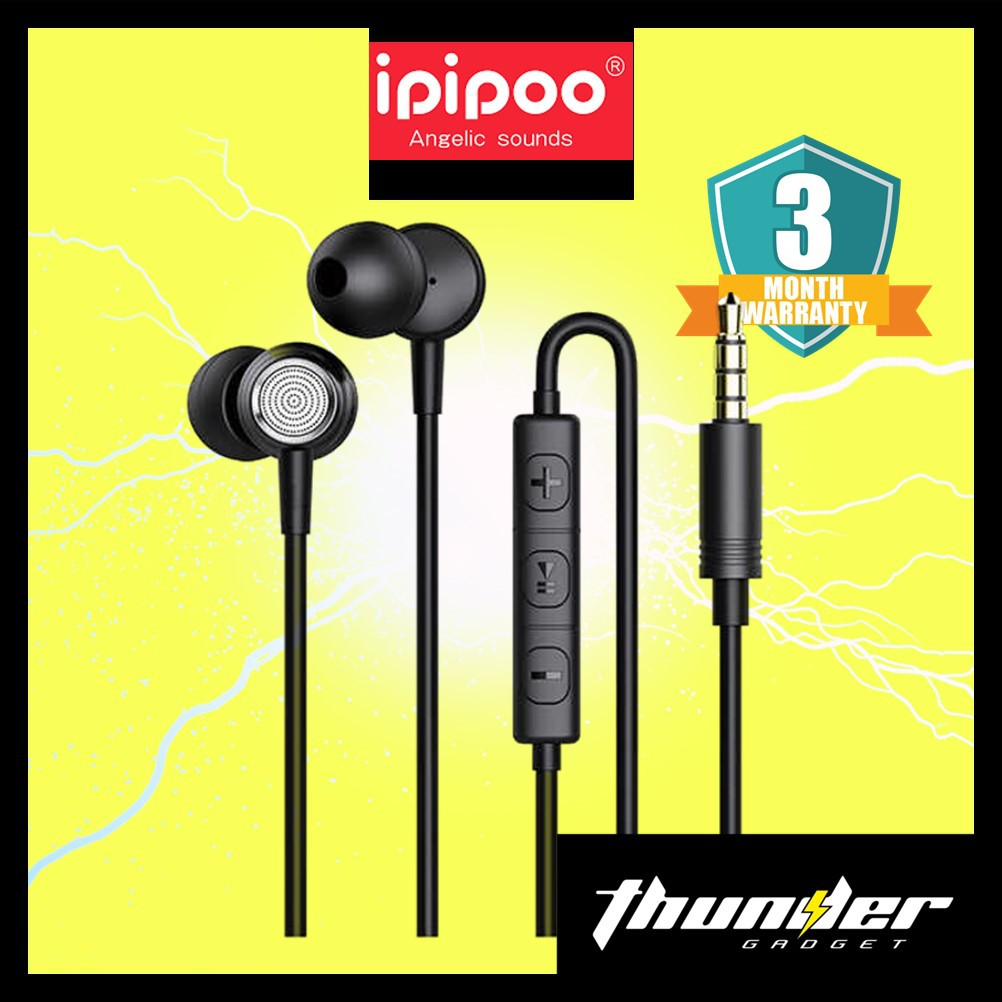 IPIPOO IP-6 subwoofer In Ear Headphones Metal Ear Shell 1.2m High Definition Bass 3.5m Gold Plated Plug
