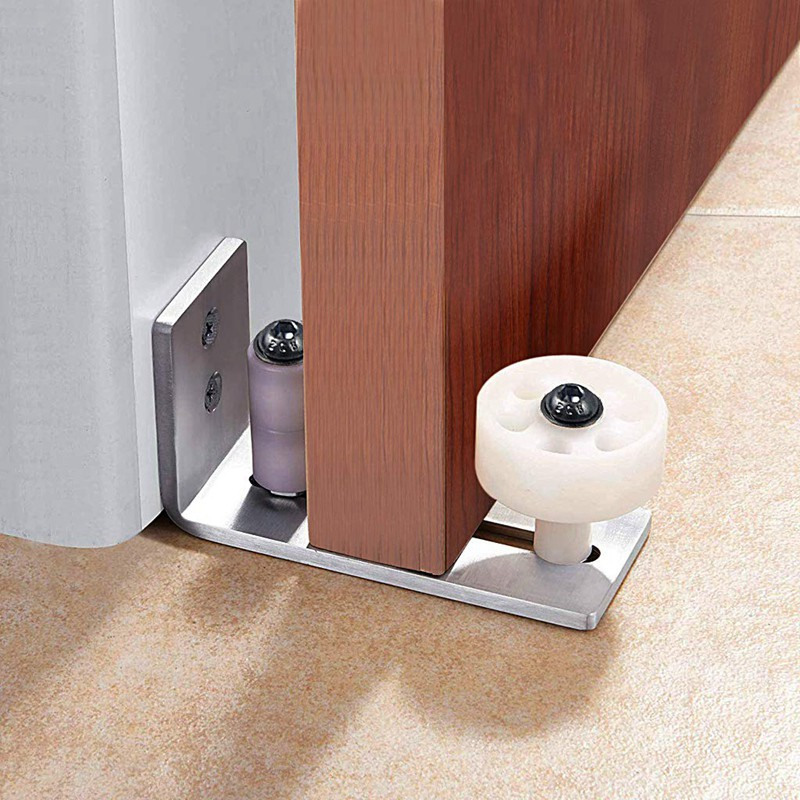 Jeffergarden Adjustable Stay Roller Floor Guide Barn Door Floor Guide Stay Roller Iron Plated Silver