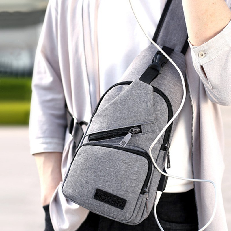 254fccf7d9 Anti-theft chest bag male fashion trend Messenger bag USB shoulder bag  chest bag