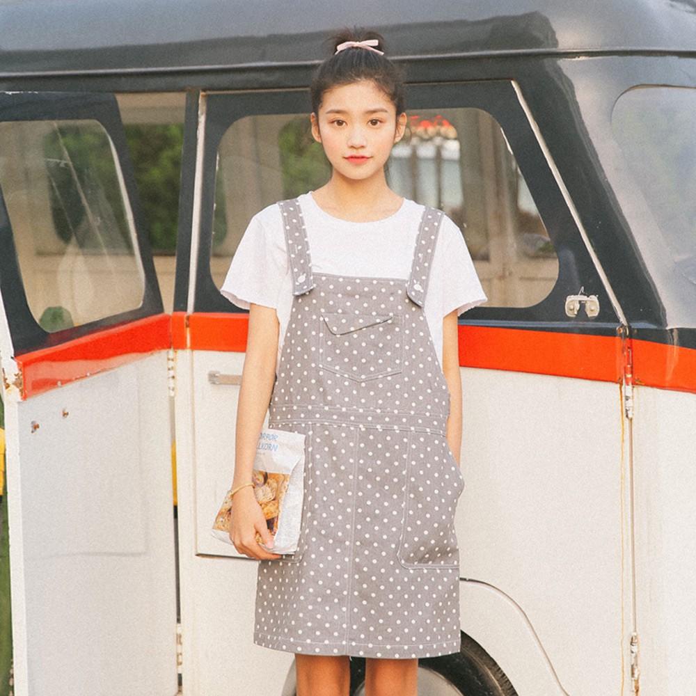 Korean Style Gray Polka Dot Large Pocket Denim Skirts Suspender Midi Skirt