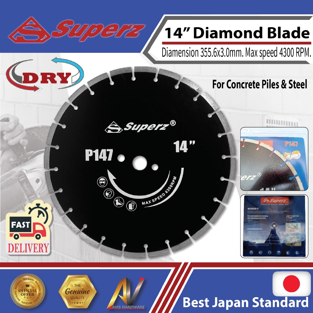 superz P147 355mm 14inch Diamond Blade-laser welding for Concrete Piles