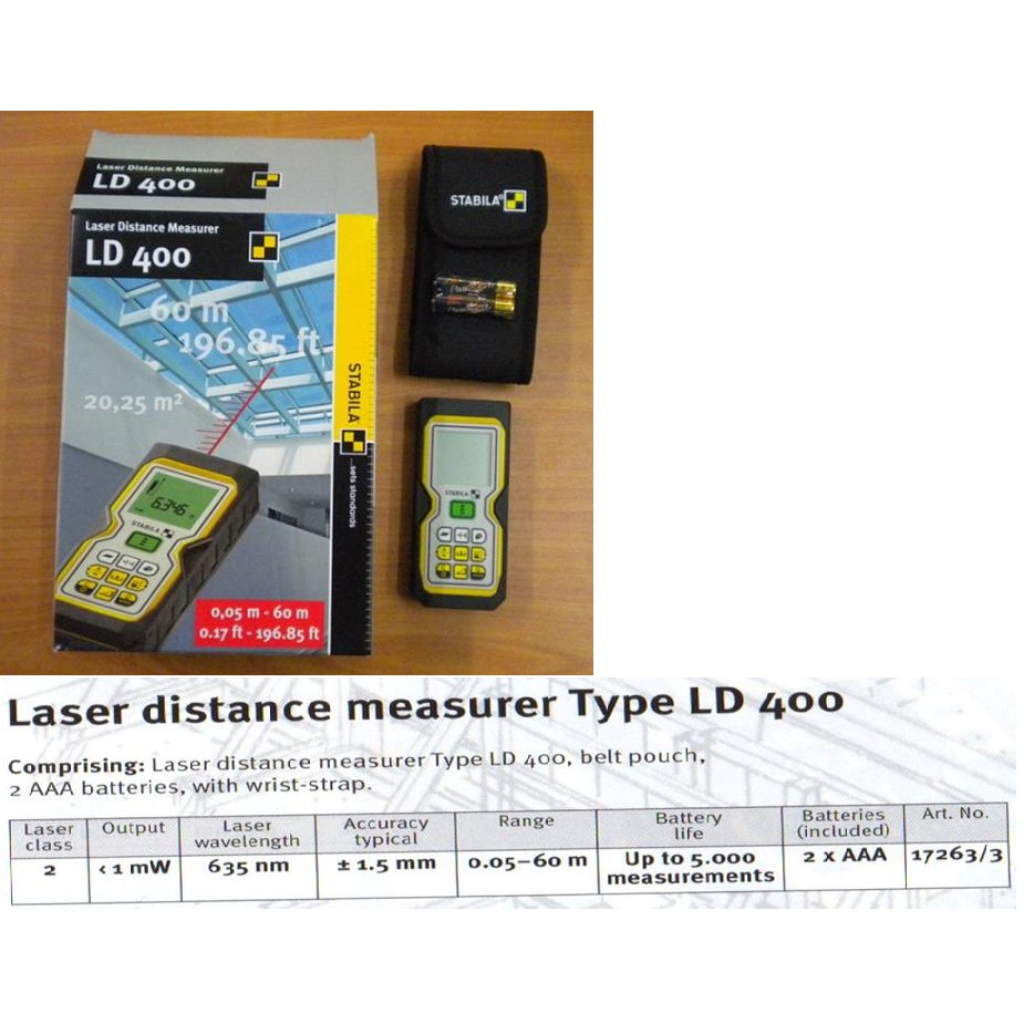 60M LD400 STABILA LASER DISTANCE MEASURER MEASUREMENT MEASURING