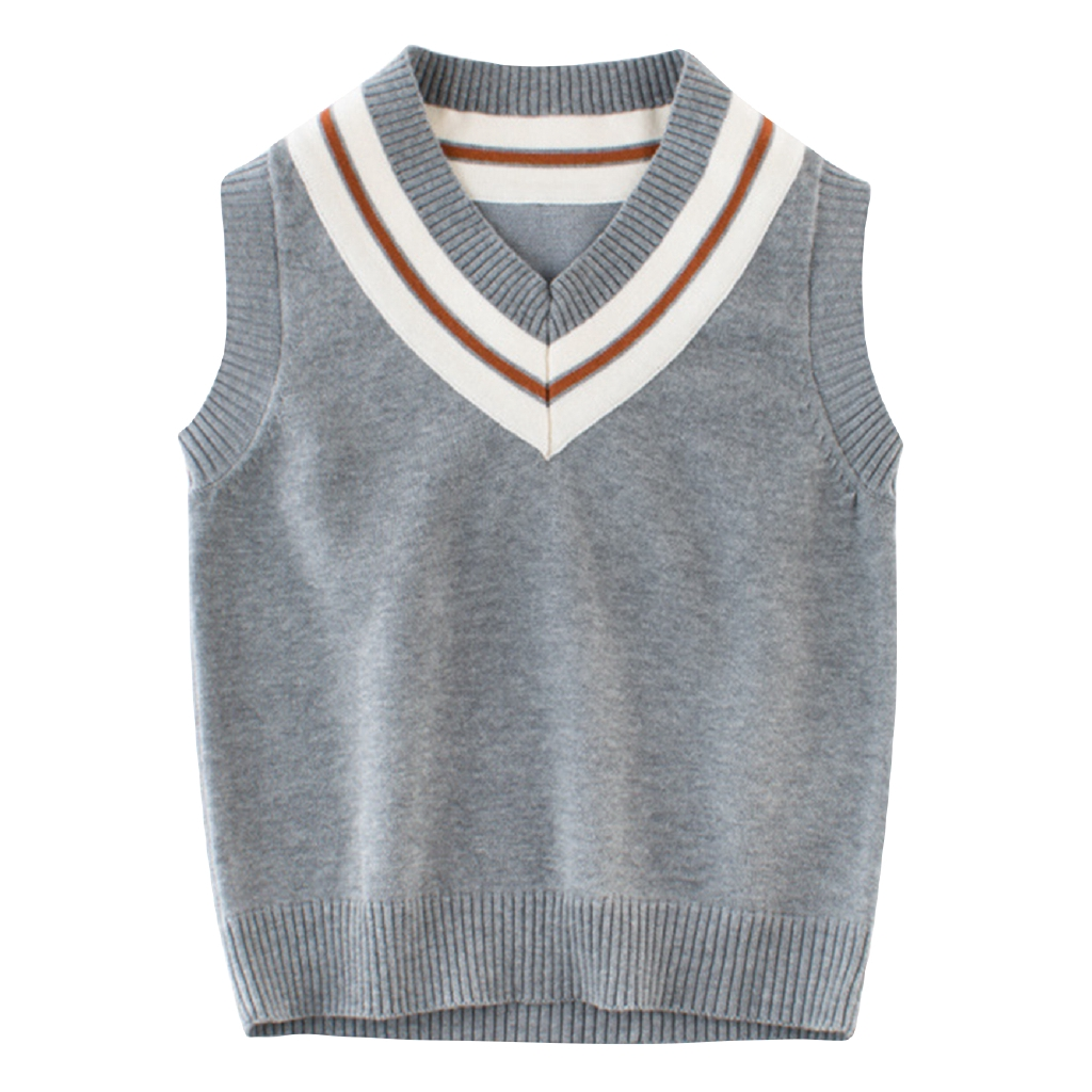 Kids Boys V Neck Tank Top Knitted Sleeveless Sweater Vest Jumper School Uniform