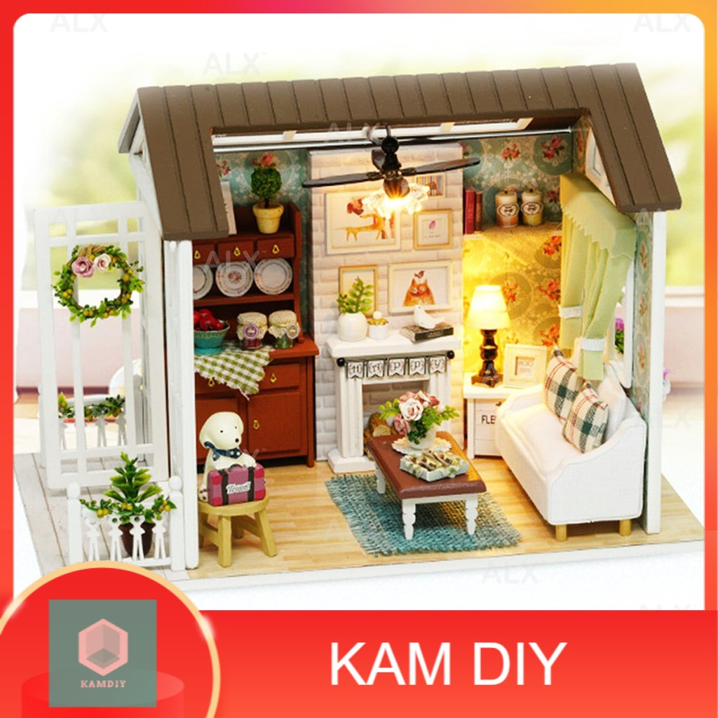 DIY American Dollhouse Miniature Mini Wooden Furniture Kit with LED Z008