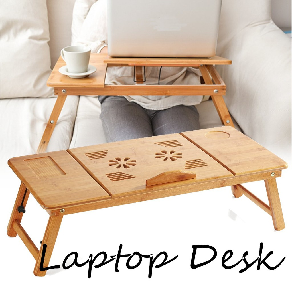 Picture of: 70cm Foldable Folding Lap Desk Bamboo Laptop Bed Table Stand Tray Adjustable Shopee Malaysia