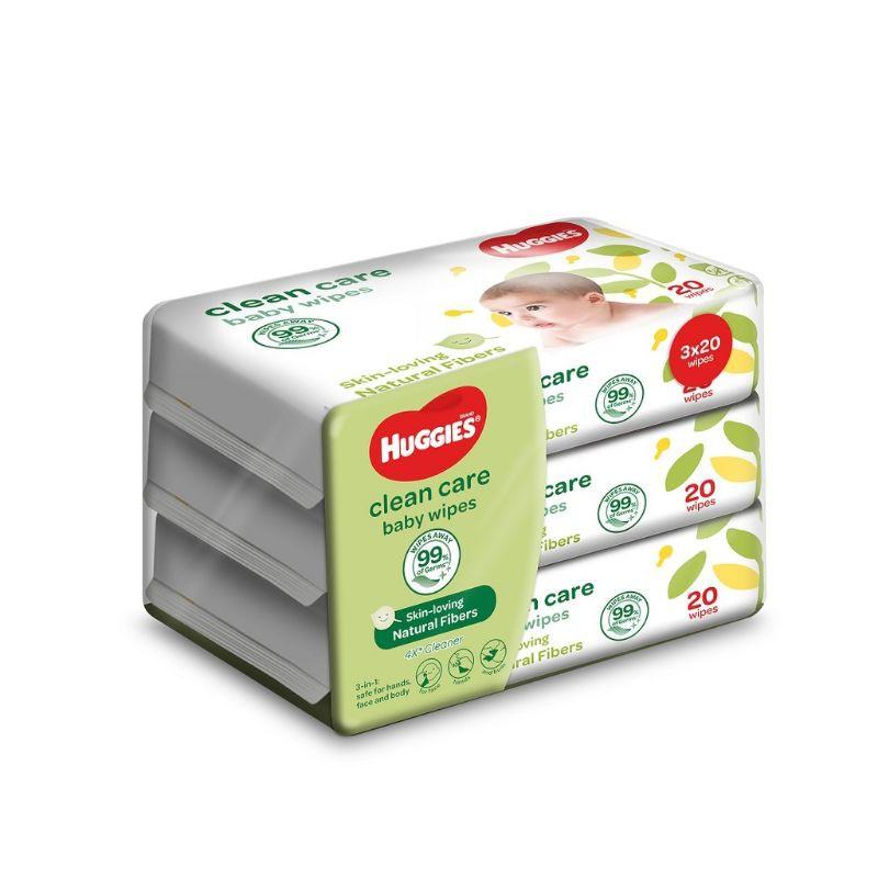 Huggies Baby Wipes Clean Care (20's x 3 Packs)