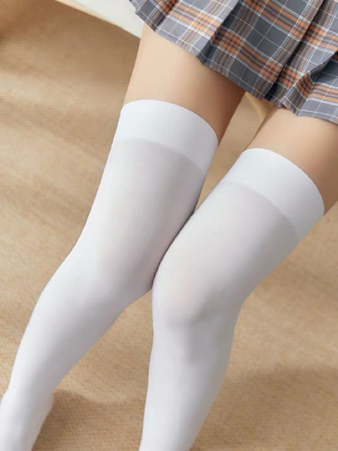 [Free Size]Japanese sweet high stockings 春秋冬中筒袜夏天潮高长筒袜女过膝袜薄款白色日系丝袜大腿袜