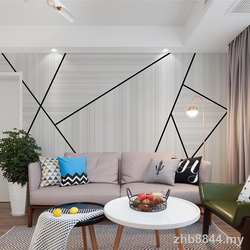 New Product Selling Nordic 2019 Tv Background Wall Painting Simple Modern Bedroom Living Room 8d Geometric Wallpap Shopee Malaysia