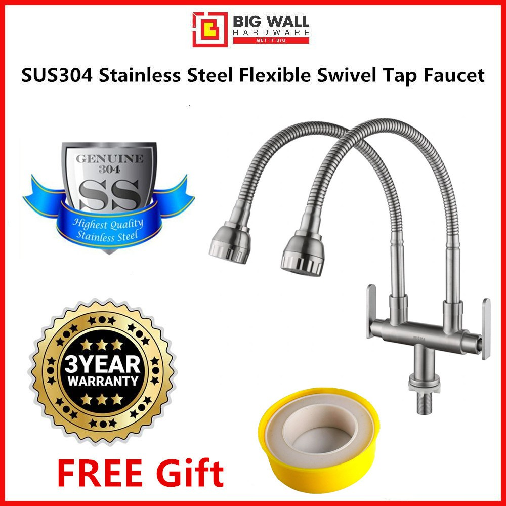 Big Wall SY8034 SUS304 Stainless Steel Flexible Kitchen Sink Basin Pillar Double Swivel Tap Faucet *FREE Sealing Tape