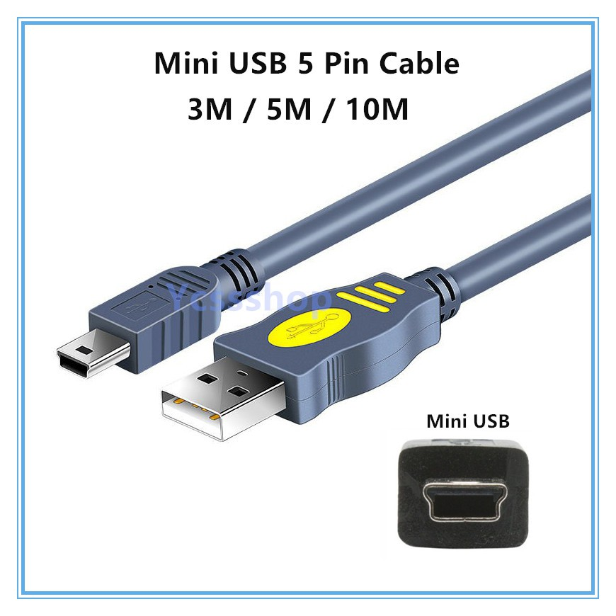 1.5M 3M 5M 10M USB 2.0 Cable A Male To Mini USB Male 5 Pin B Sync & Charging Cable with booster MP3 MP4 Dashcam cameraT型