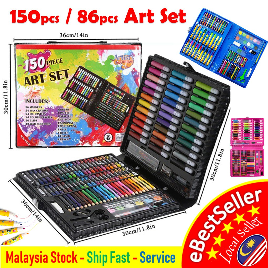 b90066424 Tenso 86 pcs Kids Painting Pen Crayon Drawing Art Set Colour Pencils with  Case | Shopee Malaysia
