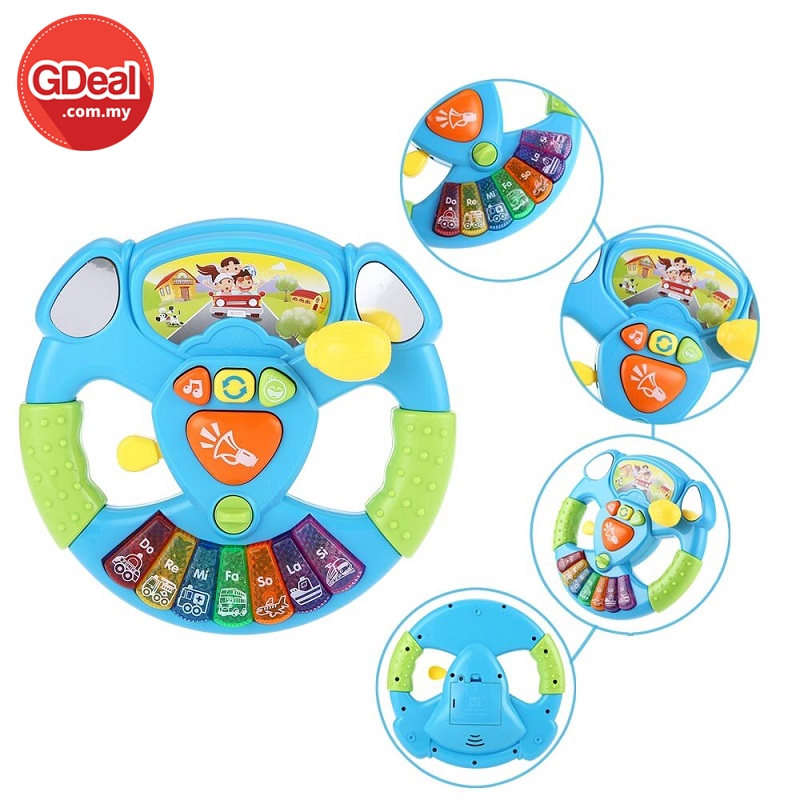 GDeal Electric Toy Musical Instruments For Kids Baby Steering Wheel Musical Hand bell Developing Educational Toy