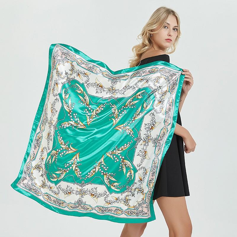 90*90CM Soft Satin Print Scarf Hijab Square Scarf Tudung Bawal