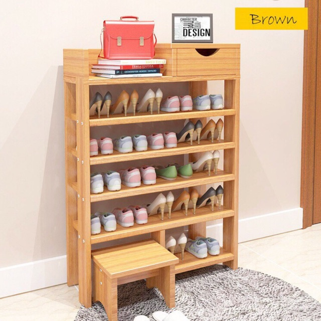 Ready 6tier Multi Layers Wooden Shoe Rack Pine Storage Cabinet