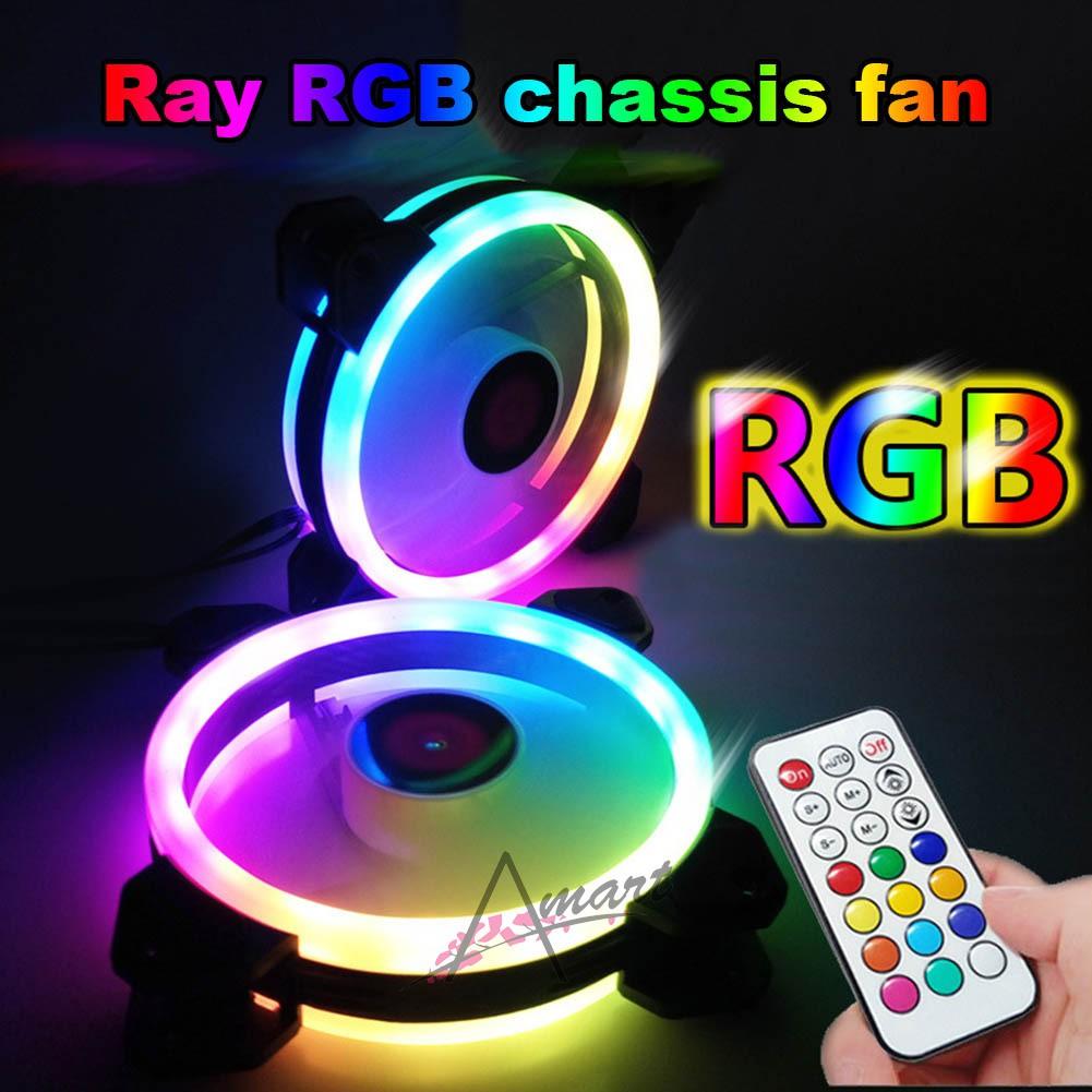 Rainbow Lights RGB Adjustable Color Cooling Fan 120mm LED PC Computer Silent