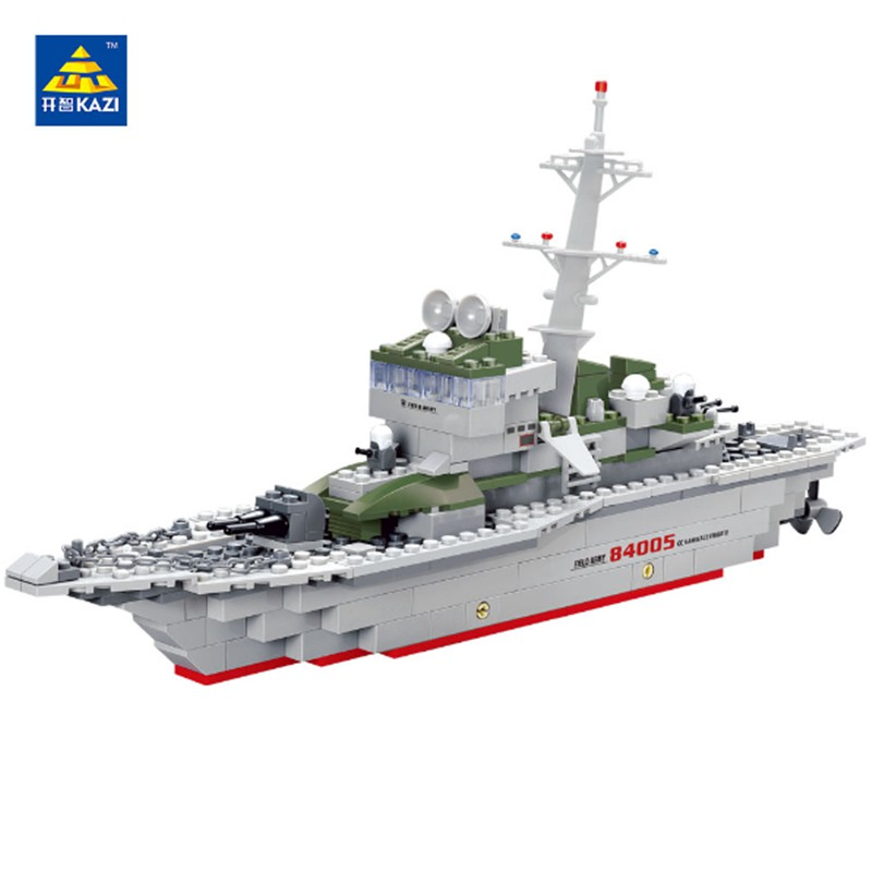 KAZI Military Frigate Ship Model Brick Blocks Army Toys Compatible with lego