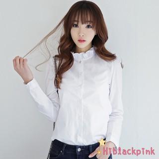 3b2b09edea7 Women Elegant Stand Collar Long Sleeve Blouses Office Lady White ...
