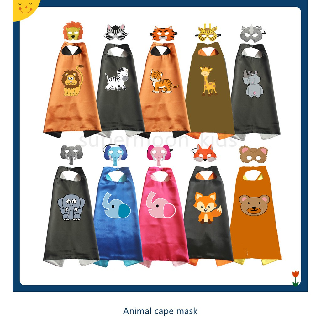 🚗🚗Animal Costumes Superhero Capes Ladybird Bear Cape with Mask Halloween  Costumes Party Birthday Cosplay for kids