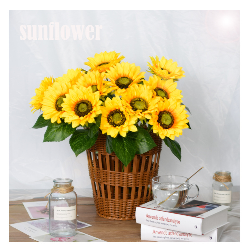 1 7heads Sunflower Silk Artificial Flower Bouquet Large Sun Flower Home Decor Artificial Flowers Plant Artificial Decorative Flower Fake Flower Shopee Malaysia