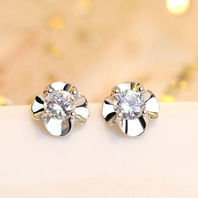 1 Pair Elegant Fashion Silver Earrings Zircon Flower Ear Stud Women Jewelry