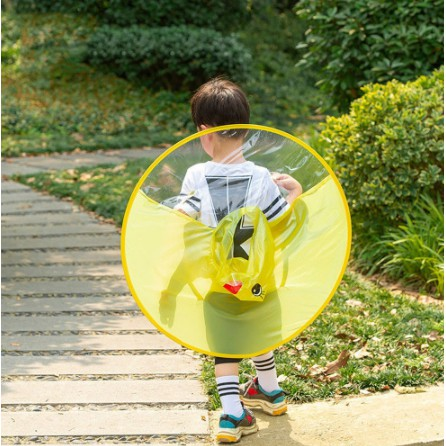 Cute Penguin Head Foldable UFO Raincoat for Baby Kids Baby Raincoat