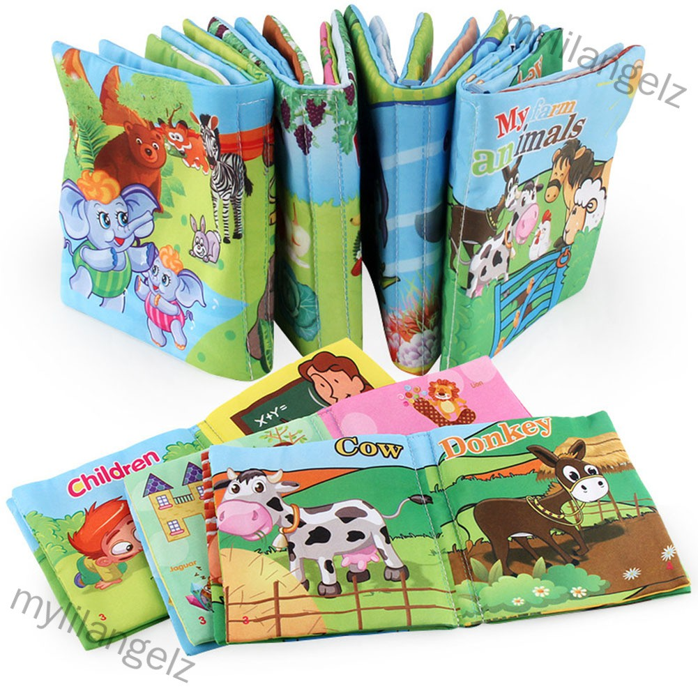 Mylilangelz 1pc Baby Early Learning Soft Cloth Books Creative Squeak Crinkle Book Puzzle Toys (READY STOCK)