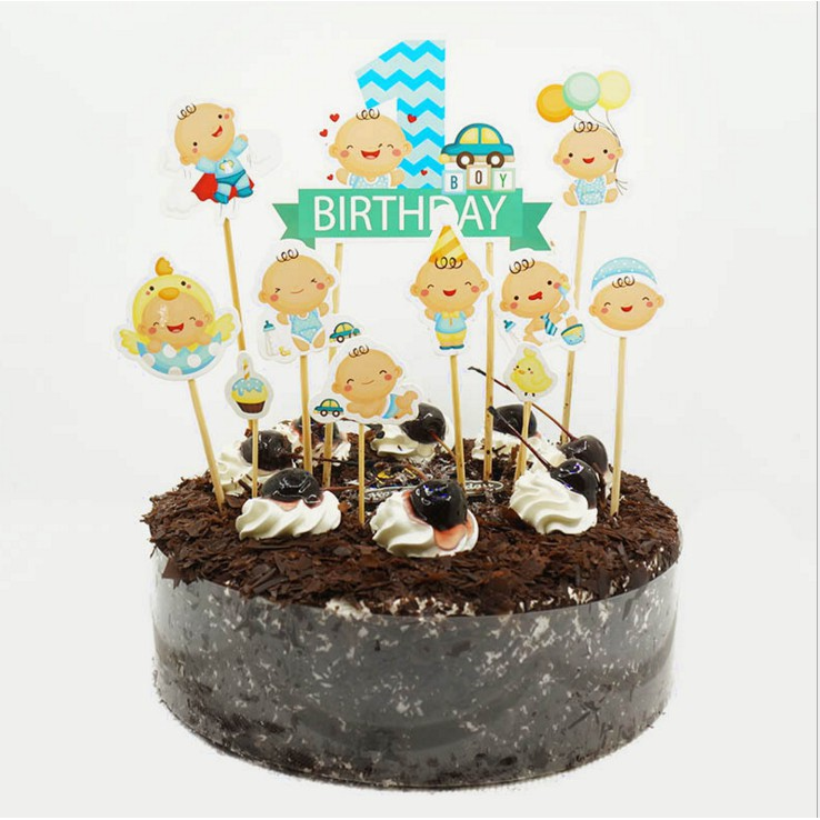 Excellent Baby 1 Year Old Birthday Cake Cupcake Topper 9 10Pcs Shopee Funny Birthday Cards Online Barepcheapnameinfo