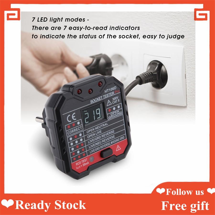 HT106D/HT106B/HT106E Multi-function Electric Socket Tester Mains Fault  Checker