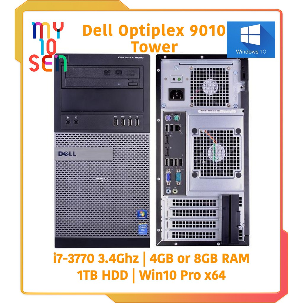Dell Optiplex 9010 Tower i7 3770 3 4Ghz 4GB or 8GB RAM 1TB HDD Win 7 COA -  WIn 10 Pro x64 Desktop PC Computer