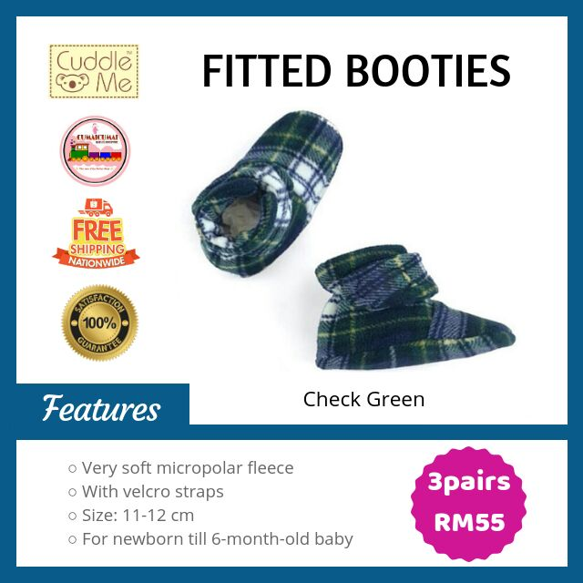 5b7c0f358 CUDDLE ME: Baby Fitted Booties / Shoes (12cm) Check Purple | Shopee Malaysia