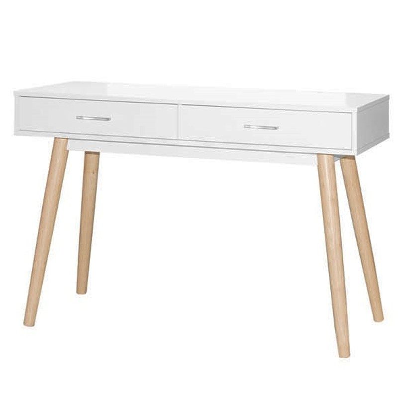 ZURICH 4ft Solid Wood Console Table white color solide rubberwood material
