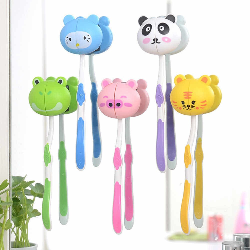 [READY STOCK] Household Toothbrush Holder Lovely Cute Animal Head Toothbrush Sucker Bathroom Cartoon Stand Cup Mount