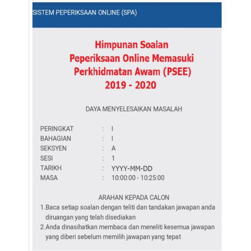 Peperiksaan Online Spa Online Exam Koleksi Himpunan Soalan Dan Jawapan Shopee Malaysia