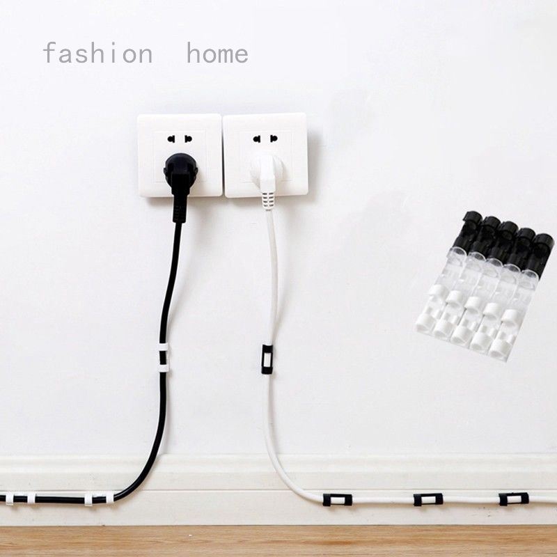 20Pcs Self Adhesive Wire Cable Cord Clips Table Wall Tidy Organizer Management
