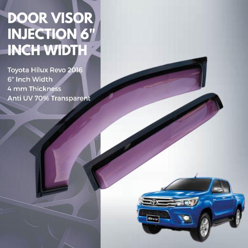 "ANTI UV ACRYLIC INJECTION DOOR VISOR ( 2 TONE) 6"" Inch Width For Toyota Hilux Revo 2016"