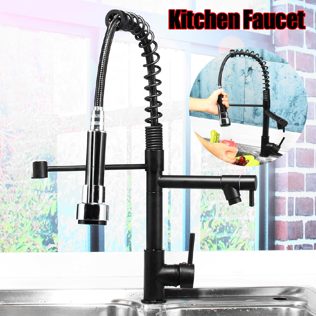 Dongxi Oil Rubbed Bronze Kitchen Faucet Single Handle Pull Down Sprayer Sink Mixer Tap Shopee Malaysia
