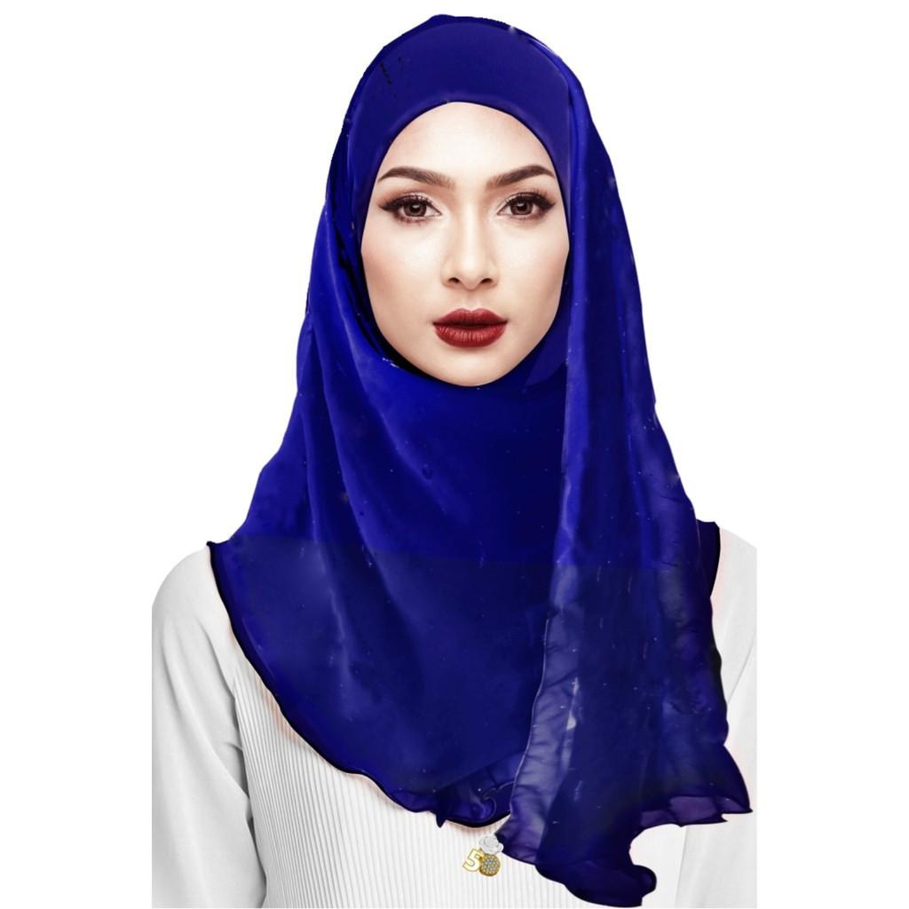 Sawks Hijab Full Instant - Plain with Beaded Locket