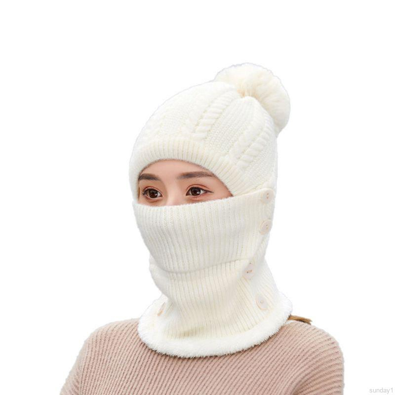 Hi Fashion Baby Winter Women Knit Windproof Hat Warm Ski Face Mask Cold Weather Neck Warmer Beanie Hats Shopee Malaysia