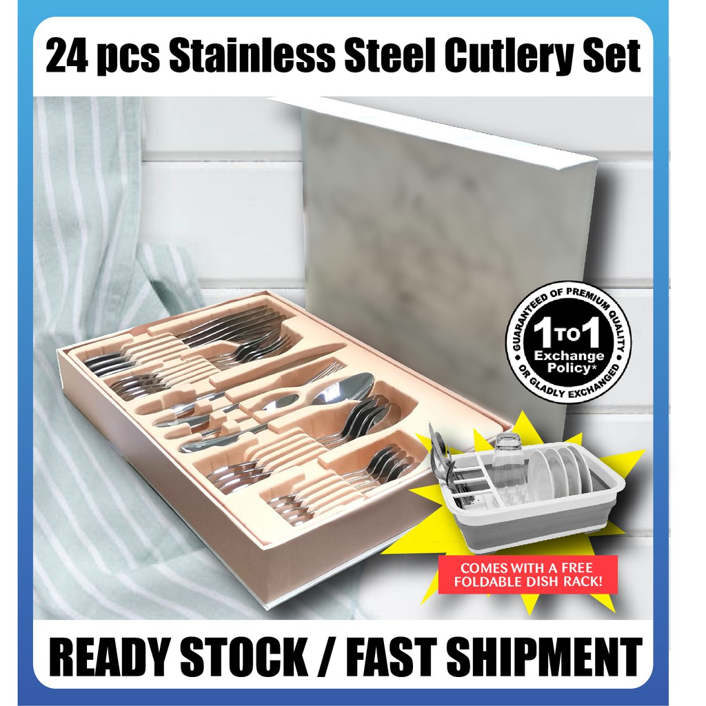 【READY STOCK】24 Pieces Stainless Steel Cutlery Set 304 Stainless Steel