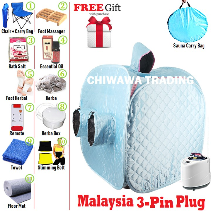 [Malaysia 3 Pin Plug] 2.2L Steam Sauna Spa Tent Slimming Weight Loss Therapy + Chair + Massager + Mat