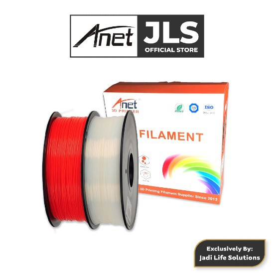 Anet 340m PLA 3D Printing Filament Biodegradable Material White Red Jadi Life Solutions (1.75mm)