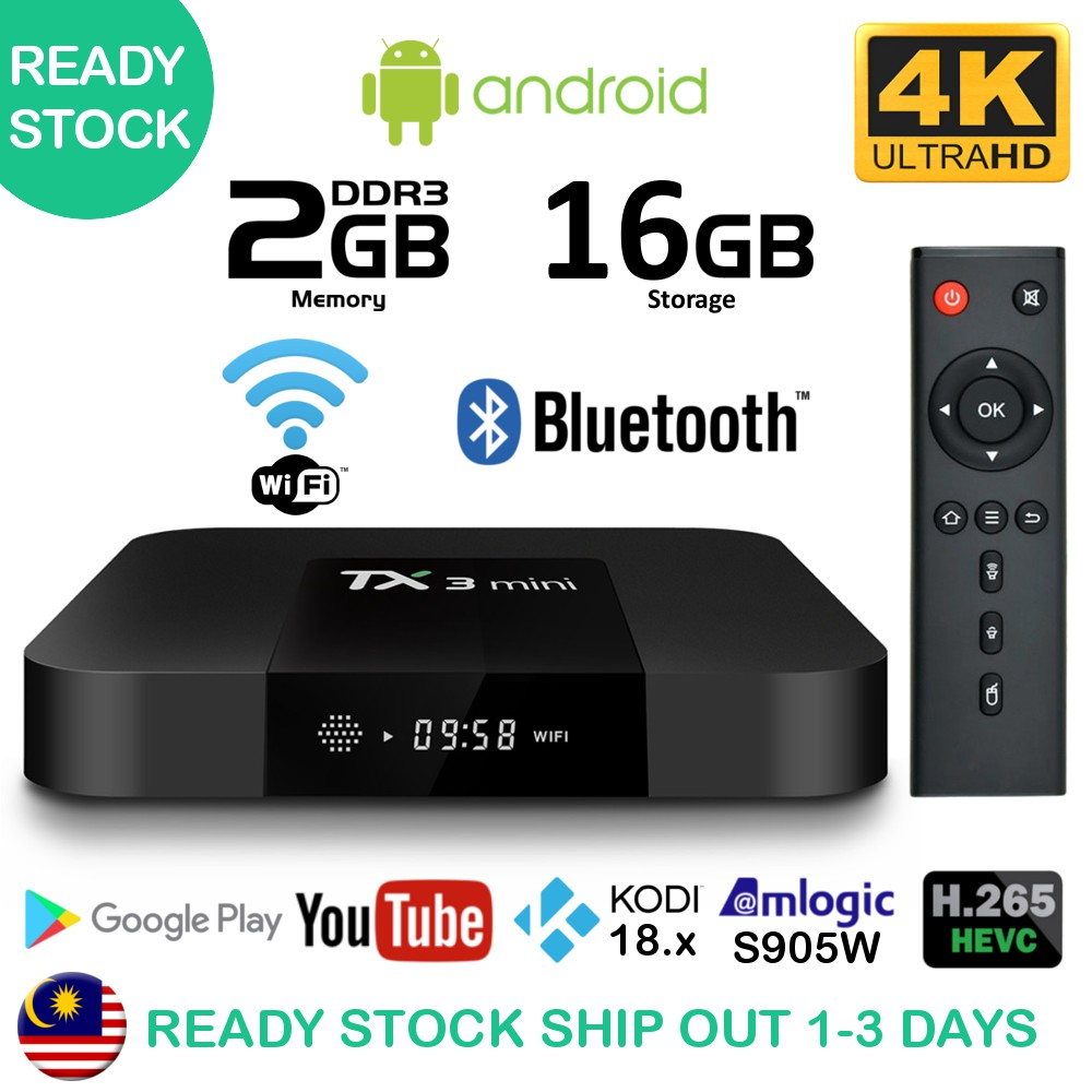 (Over 3000 Channels+Apps) TX3 Mini 2GB+16GB Android Smart TV Box Malaysia  IPTV TvBox Player WiFi Bluetooth