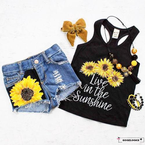 Toddler  Baby Girl Boy Sleeveless Top T-shirt Floral Short Pant Outfit Summer