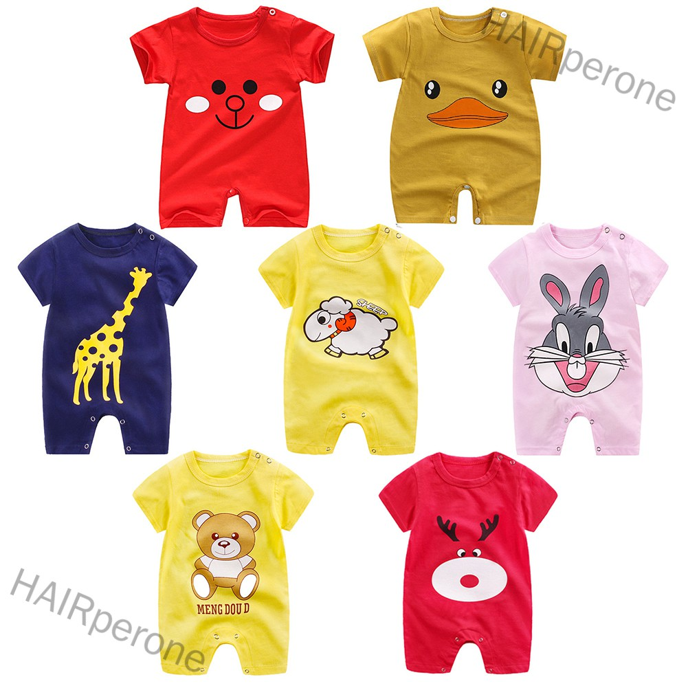 HAIRperone Infant Summer Cartoon Printing Short Sleeve Jumpsuit Button Open-Crotch Romper for Babies Toddlers
